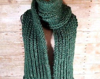 Chunky Ribbed Scarf, Knit Scarf, Ribbed Scarf, Chunky Scarf, Scarf with Fringe, Fringed Chunky Scarf, Green Scarf, Green Tweed, Fringe Scarf
