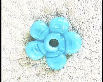 Light Blue Handmade Lampwork Violet Flower by MMB SRA #U5