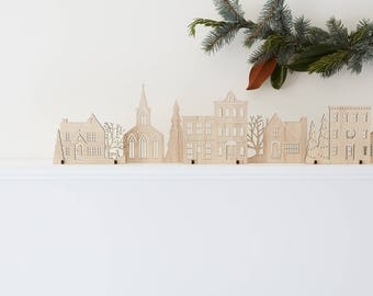 Wood Christmas Village Original Holiday Edition   Available in Cherry, Maple, Walnut