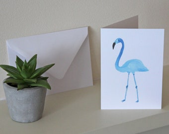 Blue Flamingo White Greetings Birthday Occasion Card Blank Inside with Envelope