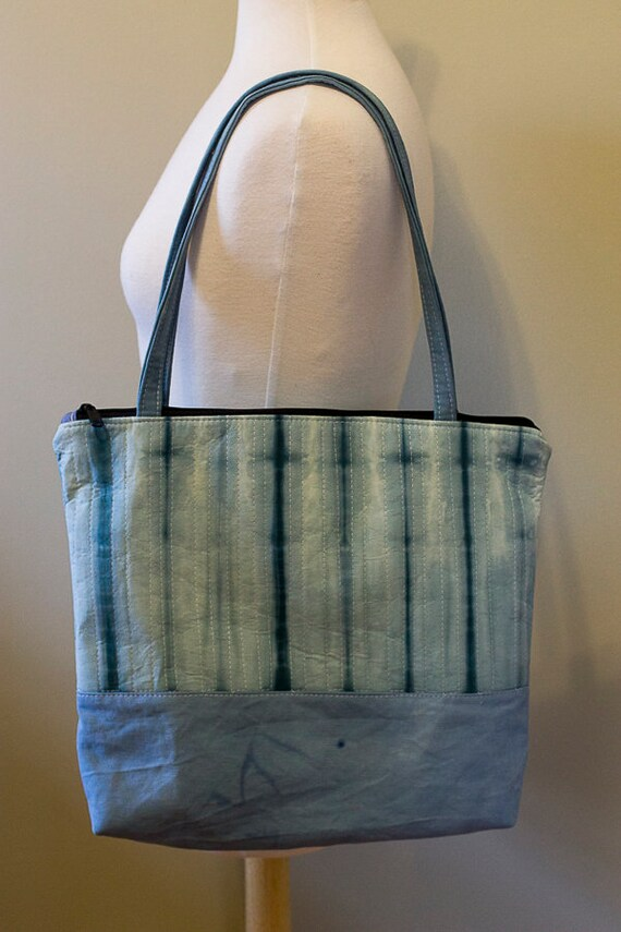 Handmade Shibori Quilted Tote Bag / Large Zipped Tote Bag