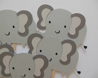 Gray Elephant Cupcake Toppers - Zoo Animals - Gender Neutral - Birthday Decorations - Baby Showers - Set of 6