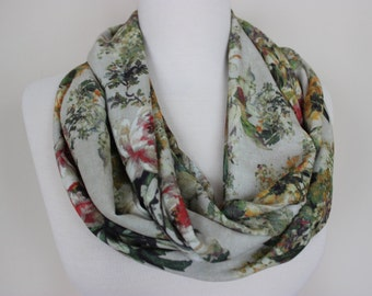 Floral Scarf, Floral Print Scarf, Multicolor Women's Scarf, Loop Scarf, Floral Loop Scarf, Gift For Her, SCARFANGEL, Fashion, Scarf, Floral