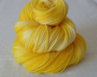 "Handdyed Yarn / Hand dyed yarn – Tonal Yarn – ""Sunflower"" Yellow– Marbled Yarn Collection – Sock Weight - Superwash Merino/Nylon – 100g"