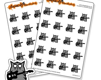 Guitar planner stickers - 40 kiss-cut grey cat with black electric guitar hand drawn stickers