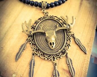 """Bronze necklace black feathers beads Deer Katniss Everdeen """"Hunger Games"""""""