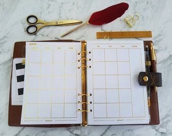 A5 (GM) Large Gold foil Monthly (MO2P) planner inserts paper | Planner refills for Kikki k, Filofax, Louis Vuitton GM agenda