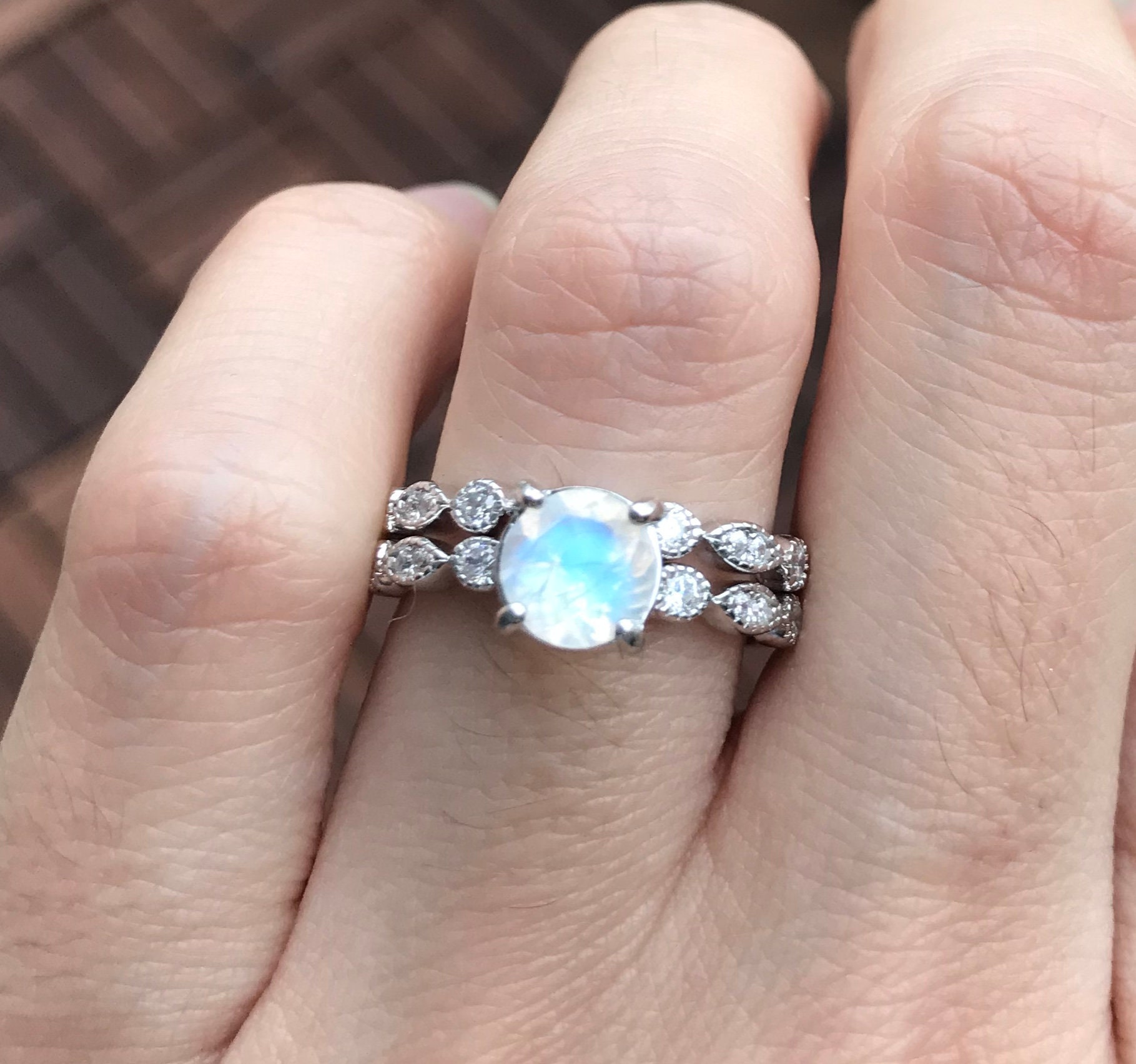 Round Moonstone Engagement Ring Set- Rainbow Moonstone Promise Ring ...