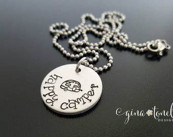 Happy Camper Necklace, Happy Camper Jewelry, Inspirational Necklace, Camping Jewelry, Outdoor Lover Necklace, Glamping, Camp Gift, Mom Gift