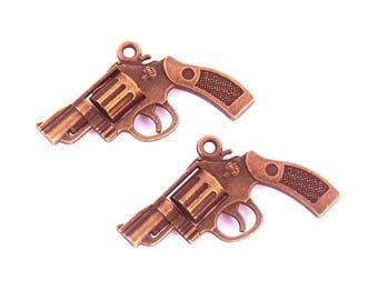 2 pistol revolver gun charm bronze brass steampunk 30mm pendant