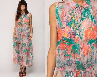 90s Floral Dress Grunge Maxi Sundress Tropical Print Sleeveless Summer Button Up Boho 1990s Bohemian Vintage Green Medium Extra Large xl