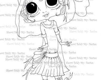 INSTANT DOWNLOAD digitale Digi Stamps Big Eye Big hoofd poppen Img091 Bestie door Sherri Baldy