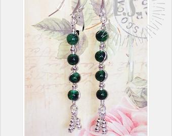 green earrings, dangle earrings, one of a kind earrings, silver plated