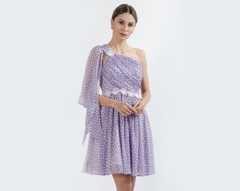 Emmy Polka-dots  Dress with Asymmetrical Neckline and Lace