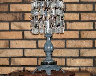 Decorative Glass Table Lamp - Home Decor - Glass & Wood Table Lamp - Eclectic Table Lamp - One Of A Kind Table Lamp - Grigio