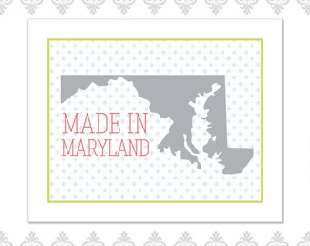 Made in Maryland Heart Print (available in all states)