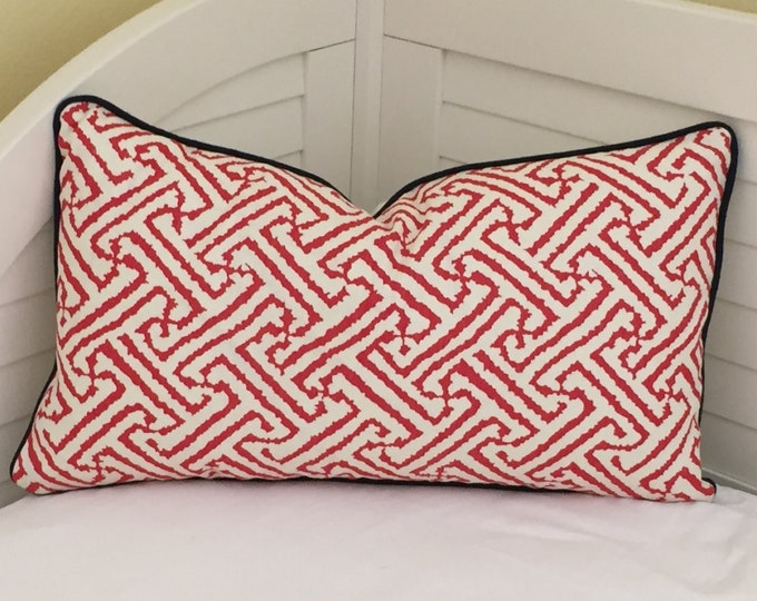 Alan Campbell for Quadrille China Seas Java Java Grande New Shrimp Designer Lumbar Pillow Cover with Navy Piping