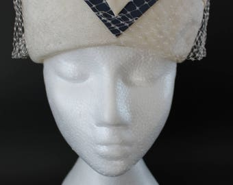 Cream and Blue Pillbox Hat by Suzy Original, Vintage 1950s Formal Hat with Netting