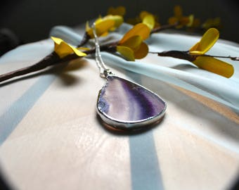 Purple Geode Slice Necklace, Beaded Silver Chain, 20 Inches Long