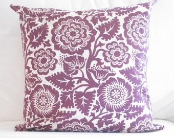 purple decorative pillow SEEN IN HGTV, Purple Floral Pillow, Purple pillow cover, cushion cover, couch sofa bed chair pillows, home decor