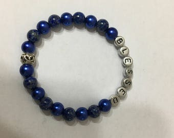 Beaded Lapis and Glass Pearl Word Bracelet