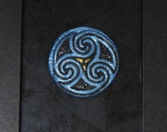 Triskelion Symbol Clay Sculpture In Frame