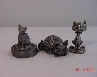 3 Miniature Cat Metal Figurines One Is Pewter  16 - 225