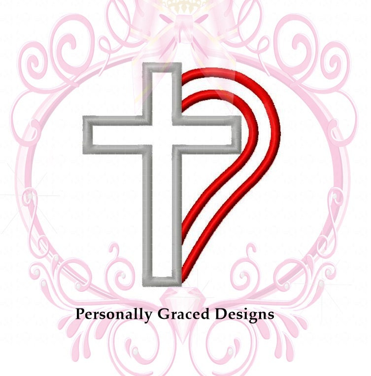 Instant Download Half Heart And Cross Machine Applique Embroidery