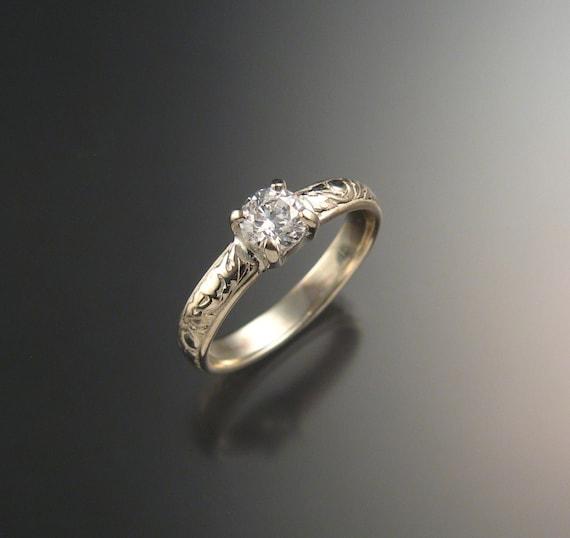 White Sapphire Natural stone Wedding ring 14k White Gold