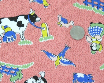 Country Life Fabric, American Folk & Fabric Vintage Collection PR 202, Pink Farm Fabric, Sewing Yardage, Quilting, Country, Cow, Farm , 1 yd