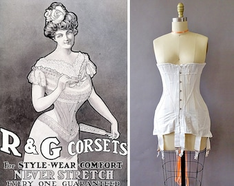 1900s R&G Edwardian Corset- 1900s White Corset - Antique Coutil Cotton Lace Corset -Longline Corset w Boning- Metal Suspenders- Satin Lacing