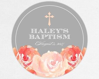 Baptism Favor Tag, Baptism Favor Label, Christening Favor Tag, Christening Favor Label, Cross, Floral, Floral Baptism, Watercolor, Haley