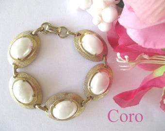 Coro Link Bracelet * Gold Tone Oval Disks * White Cabochons * Signed Vintage Bracelet