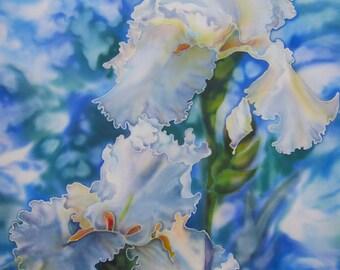 Limited edition Print-Matt Archival paper 100% cotton 290gsm from Original Silk Painting - Irises - Painting on Silk