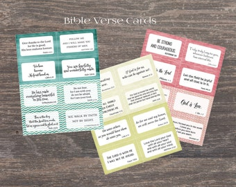 Scripture memory cards. 24 Bible verse cards for Children and adults. Instant printable. PDF. DIY Bible verse for Sunday school church.
