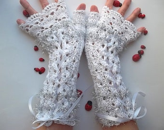 Crocheted Cotton Gloves L Ready To Ship Victorian Fingerless Summer Women Wedding Bridal Lace Evening Knitted Party Opera White Corset B81