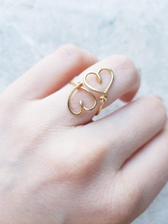 Double Hearts Ring 22K Gold Wire Heart Sweetheart Couple