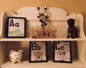 Nursery/Kids Room Watercolor Alphabet Painting