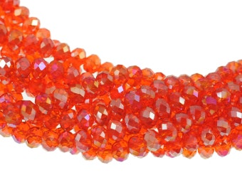 "6x4mm Transparent Hyacinth Orange AB Crystal Rondells - Full 16"" Strand - About 86 Beads"