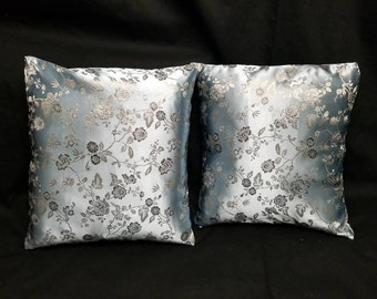 Blue Floral Print Brocade Pillow