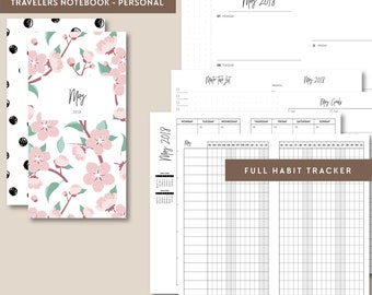 TN Personal | MAY 2018 Week on 2 Pages, Printable Travelers Notebook Insert, Personal Travelers Notebook, Printable Planner, Weekly TN