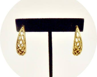 Vintage Gold Hoop Earrings, Retro Hoop Earrings, Antiqued Gold, Hoop Earrings, Gold Hoops, Vintage Jewelry Earrings