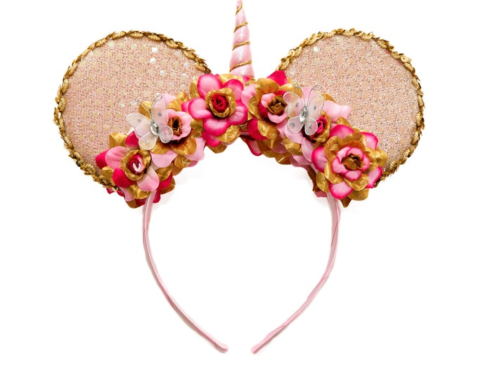 Pink Gold Unicorn Mouse Ears Headband