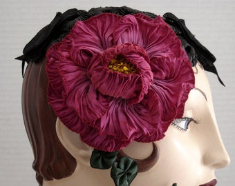 Black Straw Cocktail Hat with Lace, Beads, and Large French Ombre Peony Ribbon Flower On Sale
