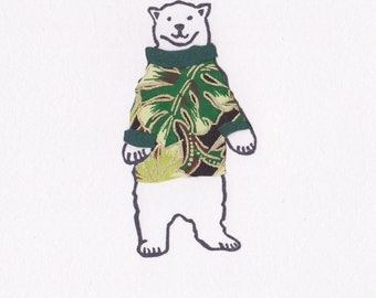 Adorable One of a Kind Polar Bear Print with Cozy Paper Craft Sweater Unframed