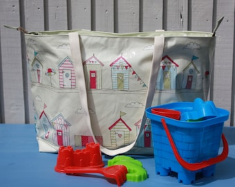 Large beach bag with zipper, beach hut oilcloth bag, unique tote for the beach, great carry on bag for holidays, gift for mum, family bag