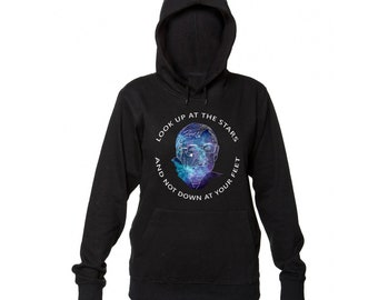 Look Up At The Stars And Not Down At Your Feet Stephen Hawking Tribute Women's Hooded Sweatshirt