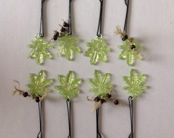 Beard Art Baubles Hemp Hipster Gift Set of 8 Hemp Leaf Baubles for the Beard Hair Baubles Ultra Mini Pins
