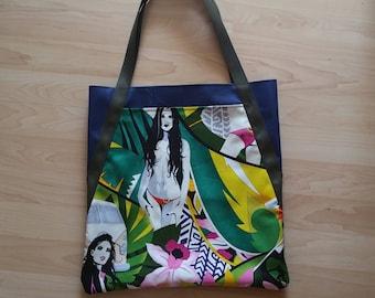 Bikini Girls Surfing Mavericks Reusable Tote Shopping Market Book Bag
