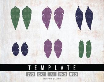 DIY 6 Feather Earrings Template Bundle - Cut File/Vector, Silhouette, Cricut, SVG, PNG, Clip Art, Download, Faux Leather, Stencil, Jewelry